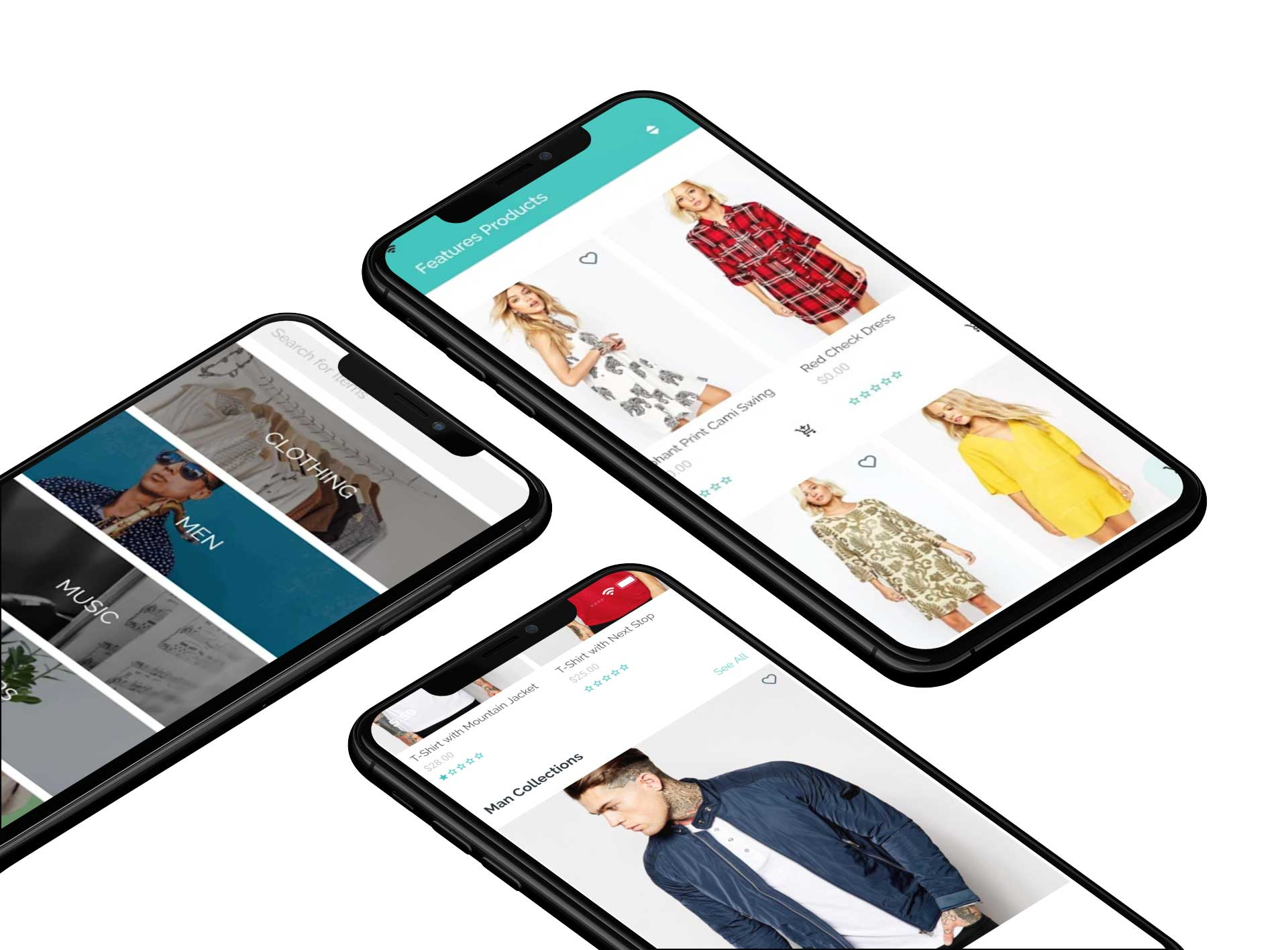 mockup of three iphones xs max lying on a customizable background 253 el MiT Store App