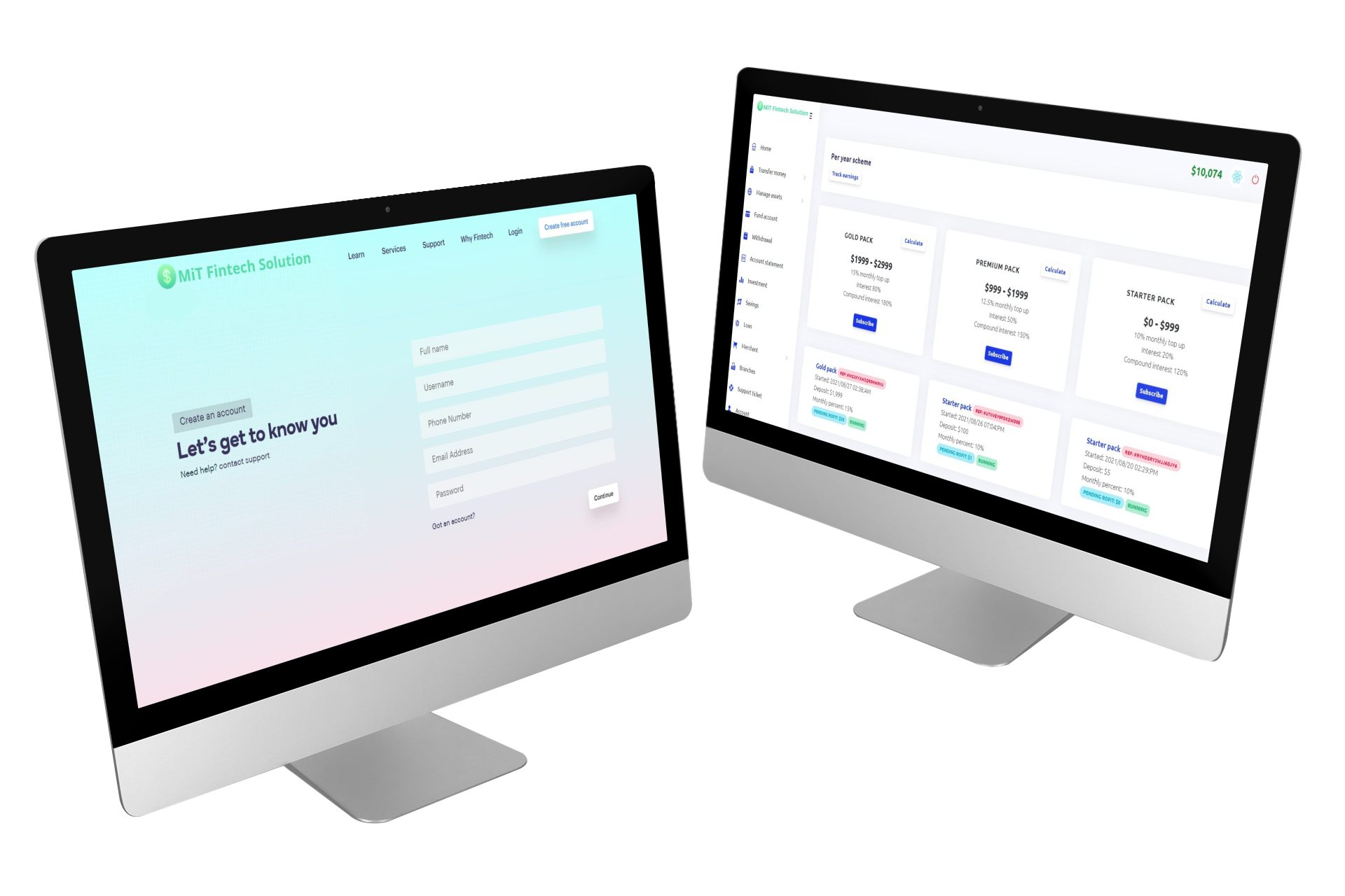 mockup of two imac renders placed next to each other in a customizable setting 5154 el1 3 MiT Fintech Solution